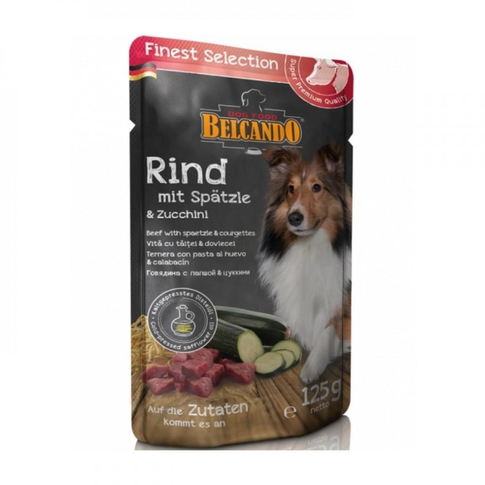 Belcando Finest Selection. Conserve pentru câini, vită cu taitei și dovlecel 300g
