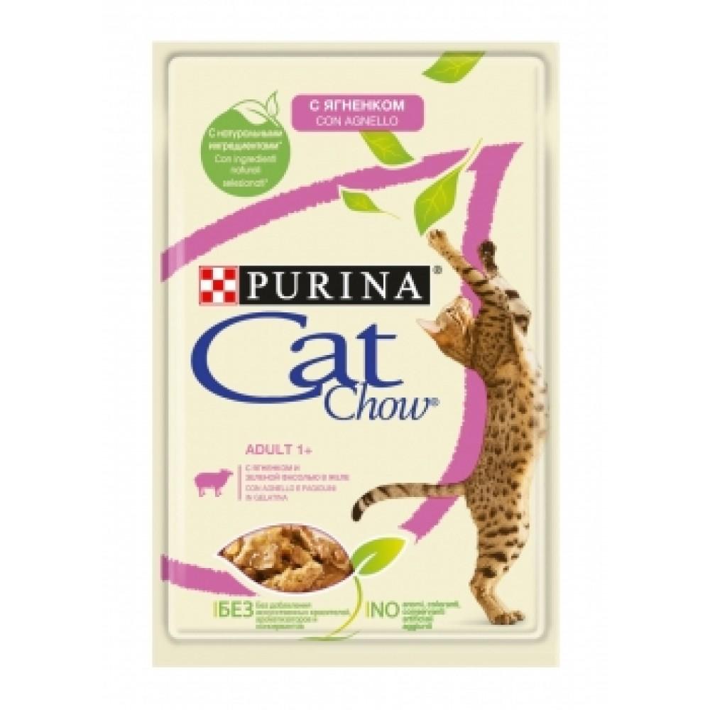 Cat Chow Adult Purina. Консервы для взрослых кошек с ягненком и зеленой фасолью.
