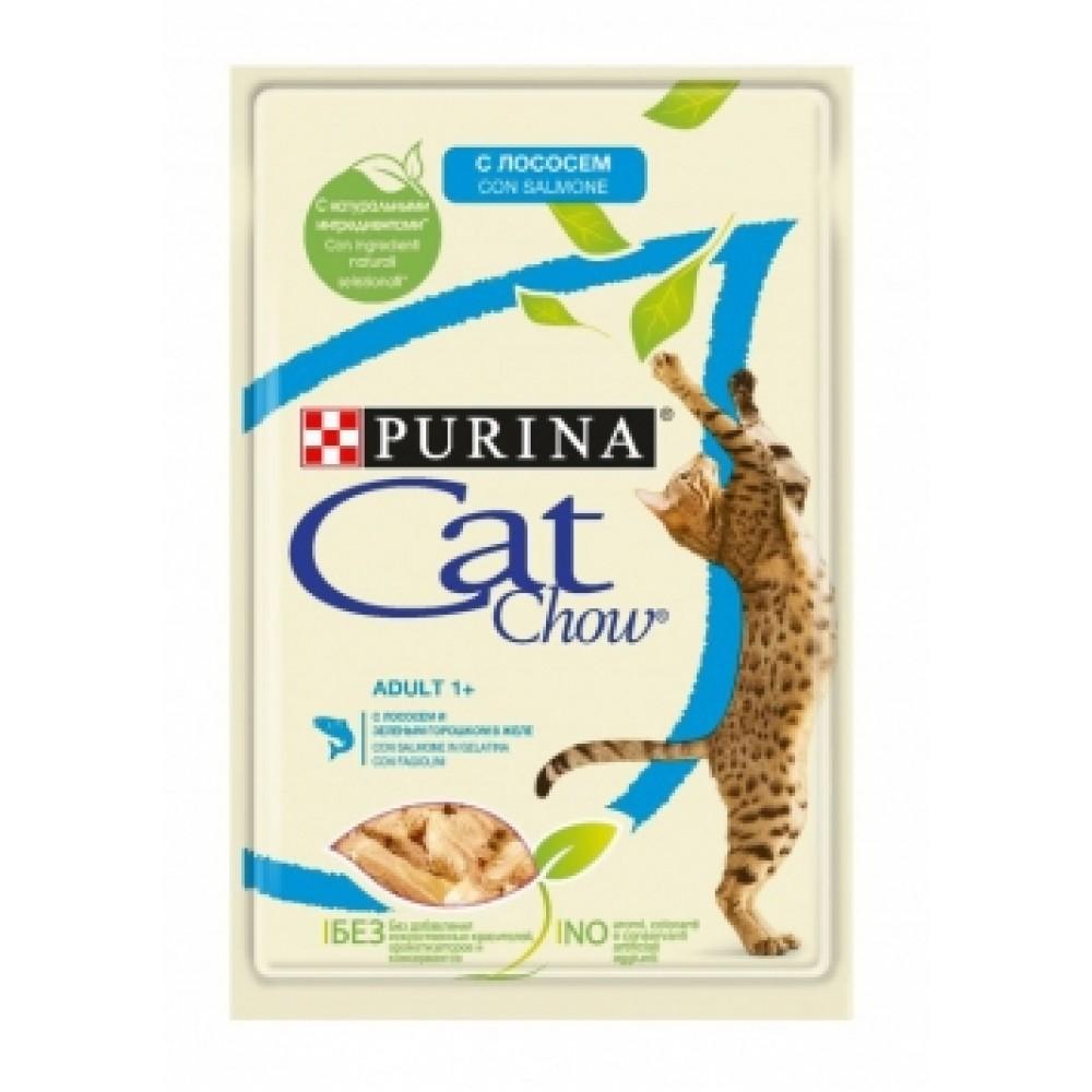 Cat Chow Adult, Purina. Консервы для кошек, лосось и зеленый горошек в желе