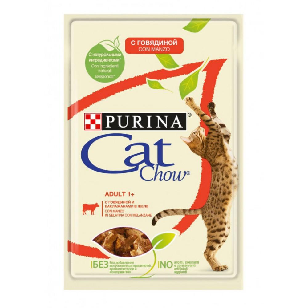 Cat Chow Conserve pentru pisici adulte cu carne de vită și vinete în jeleu
