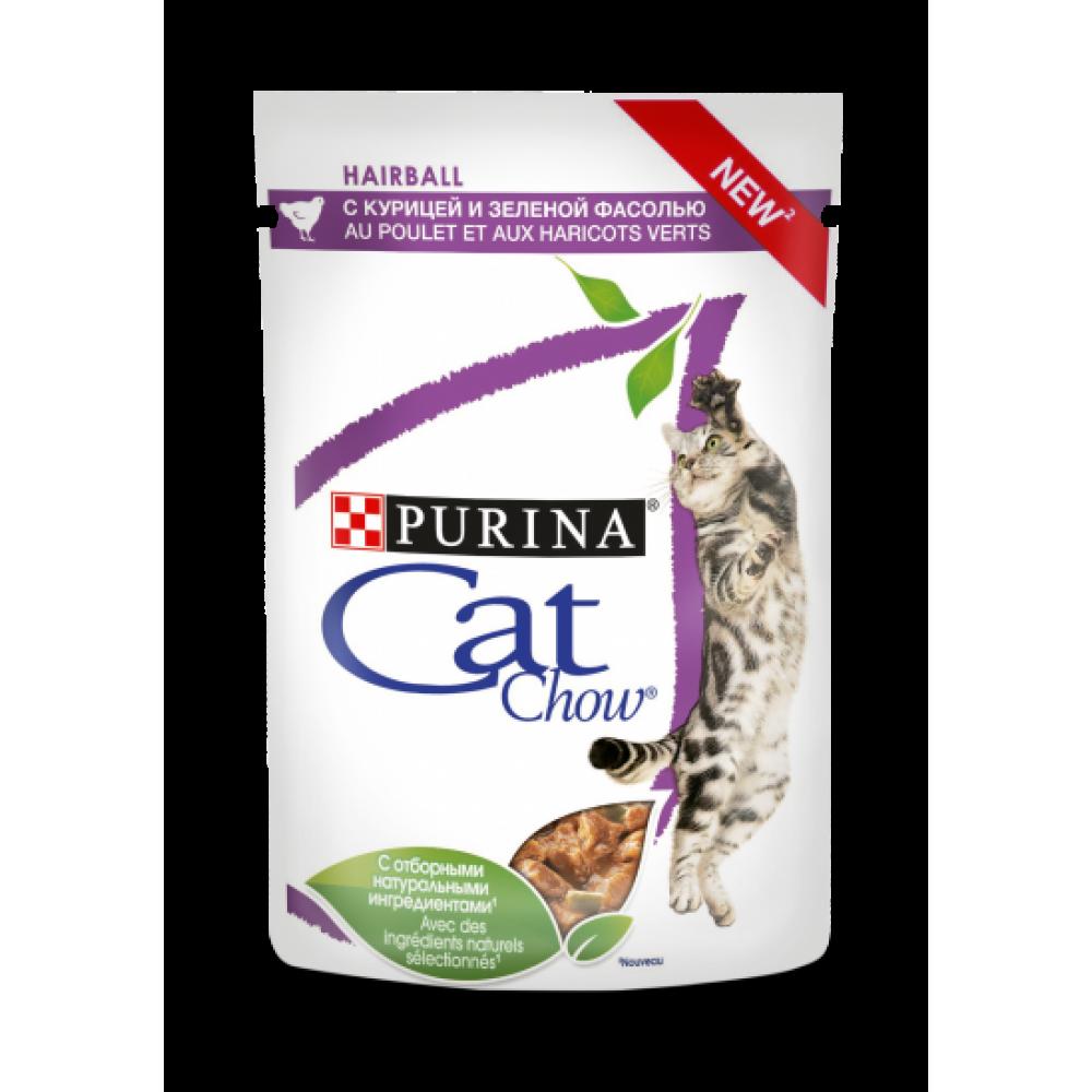 Cat Chow Консервы для взрослых кошек для контроля образования комков шерсти , с курицей и зеленой фасолью в соусе