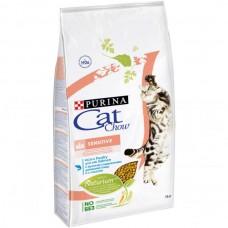 Cat Chow Sensitive Сухой корм для взрослых кошек с чувствительным пищеварением, птица и лосось