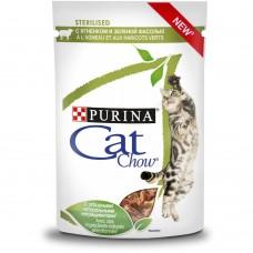 Cat Chow Консервы для взрослых стерилизованных кошек и кастрированных котов, с ягненком и зеленой фасолью
