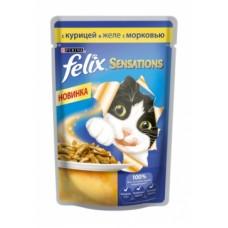 Felix Sensation Purina. Консервы для кошек с курицей и морковью в желе