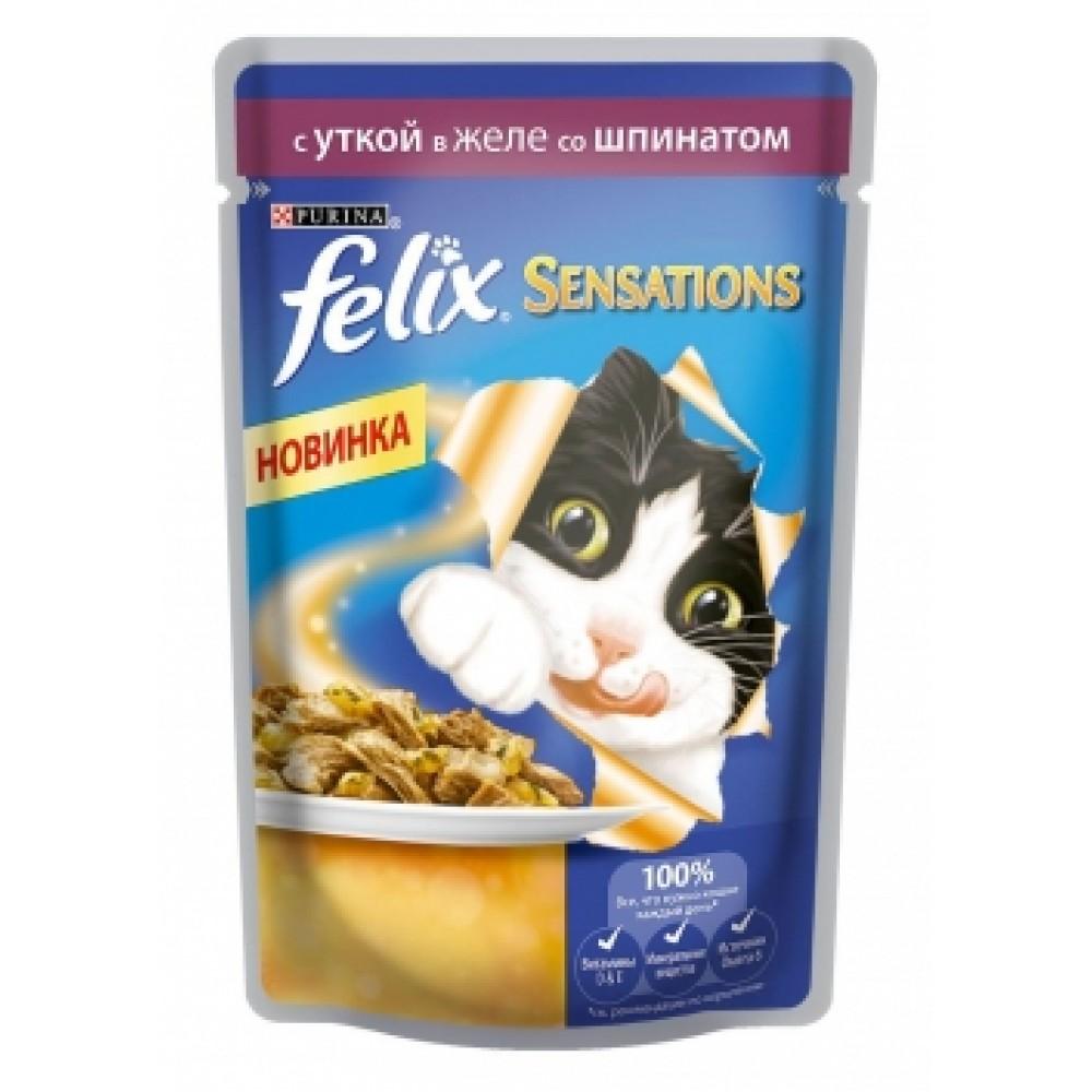 Felix Sensation Purina. Conserve pentru pisici rață cu spanac în jeleu