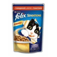 Felix Sensations Purina. Консервы для кошек, говядина с томатами в желе