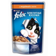 Felix Purina. Аппетитные кусочки с индейкой в желе для кошек