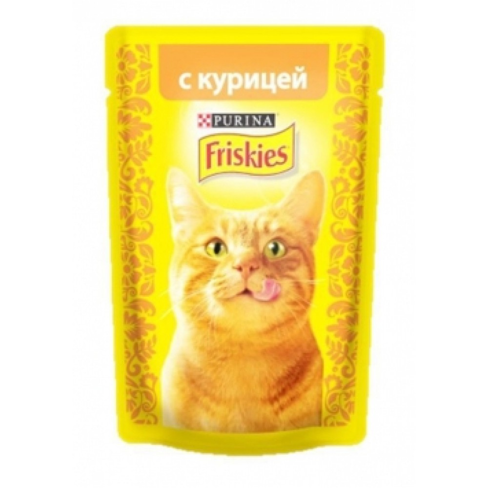 FRISKIES Adult PURINA. Консервы для кошек с курицей