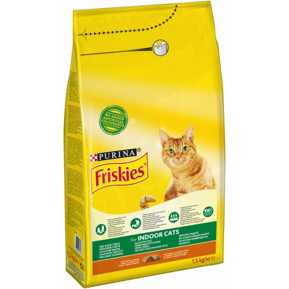 Friskies Indoor Сухой корм для котов с курицей и овощами