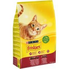 Friskies Hrană uscată pentru pisici adulte cu carne de vită, pui și legume