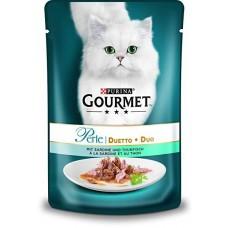 Gourmet Perle Duo с рыбой и тунцом. Консервы для кошек