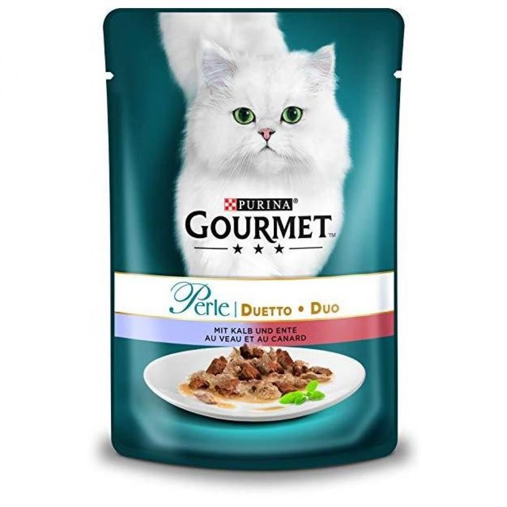 Gourmet Perle Duo cu vită și rață în sos. Conserve pentru pisici