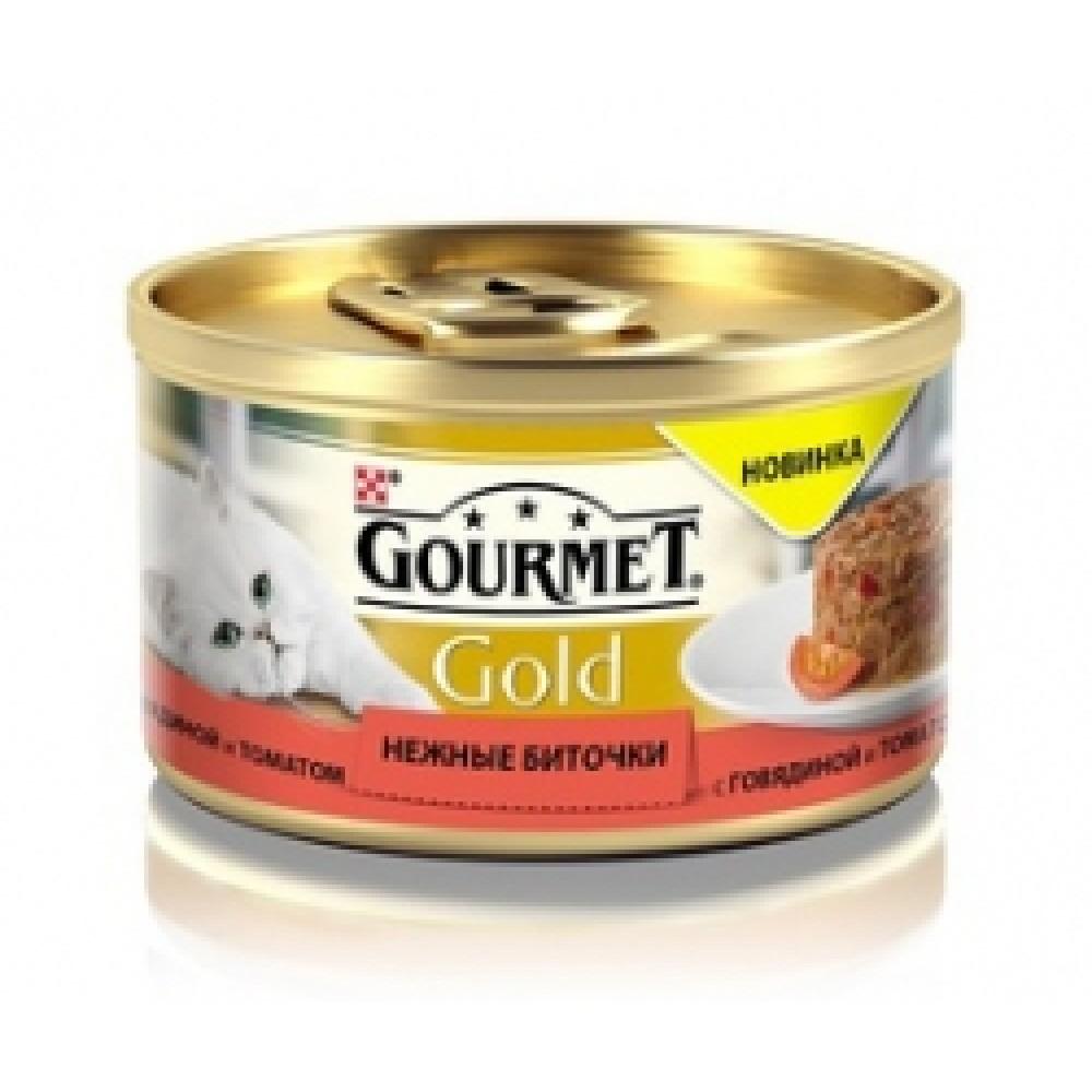 Gourmet Gold нежные биточки с говядиной и томатом, консервы для кошек