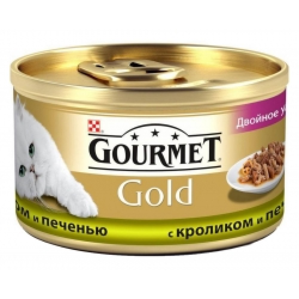 """Gourmet Gold с кроликом и печенью """"Двойное удовольствие"""", консервы для кошек, кусочки в подливке"""
