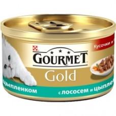 Gourmet Gold с лососем и цыпленком, консервы для кошек, кусочки в подливке