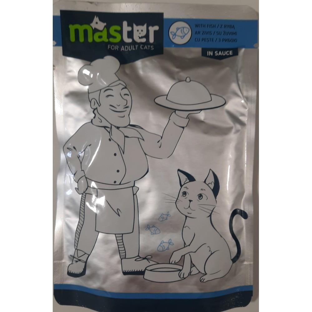 Master Консервы для взрослых кошек с рыбным вкусом в соусе
