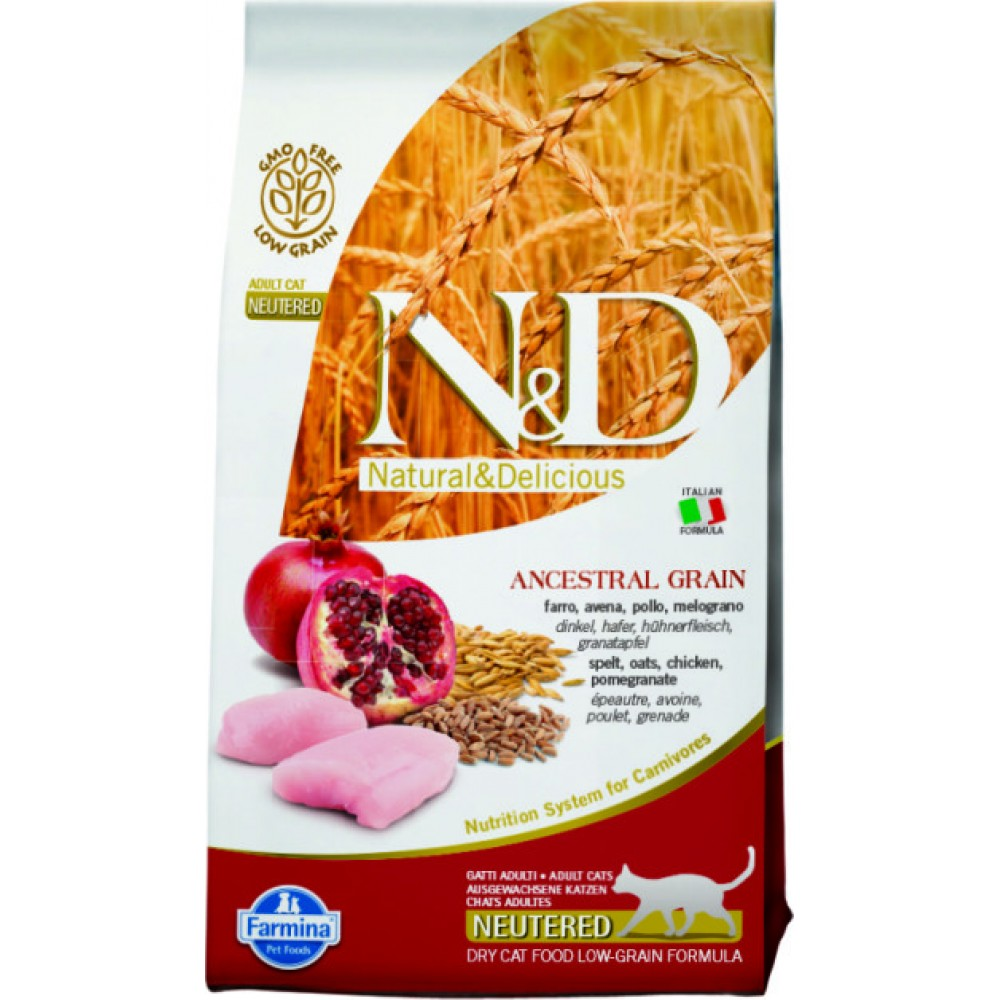 Farmina N&D Low Grain Cat Chicken & Pomegranate Neutered. Сухой корм для взрослых стерилизованных кошек, низкозерновой, курица и гранат