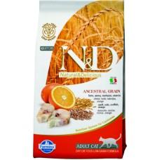 Farmina N&D Low Grain Cat Codfish & Orange. Cухой корм для взрослых кошек, низкозерновой, треска и апельсин