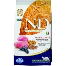 Farmina N&D Low Grain Cat Lamb & Blueberry. Сухой корм для взрослых кошек, низкозерновой, ягненок и черника.