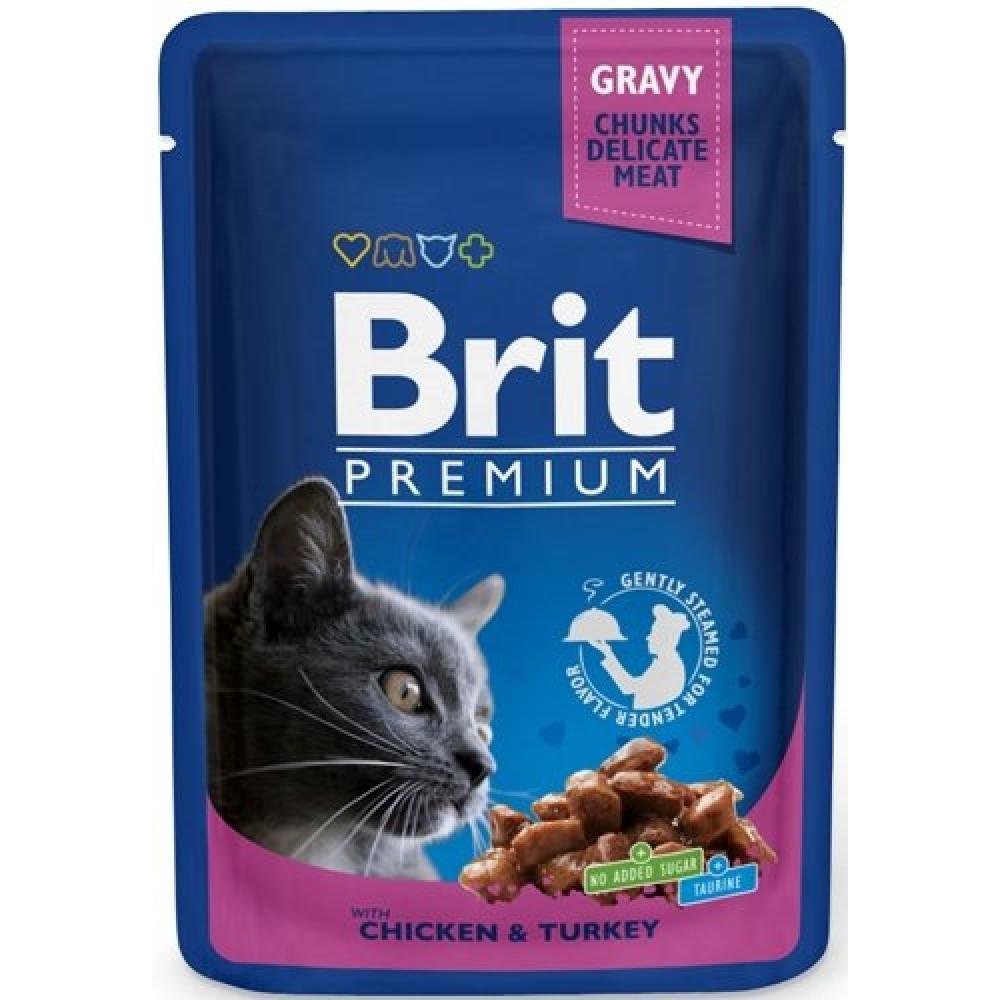 Brit Premium Консервы для кошек с кусочками курицы и индейки в соусе