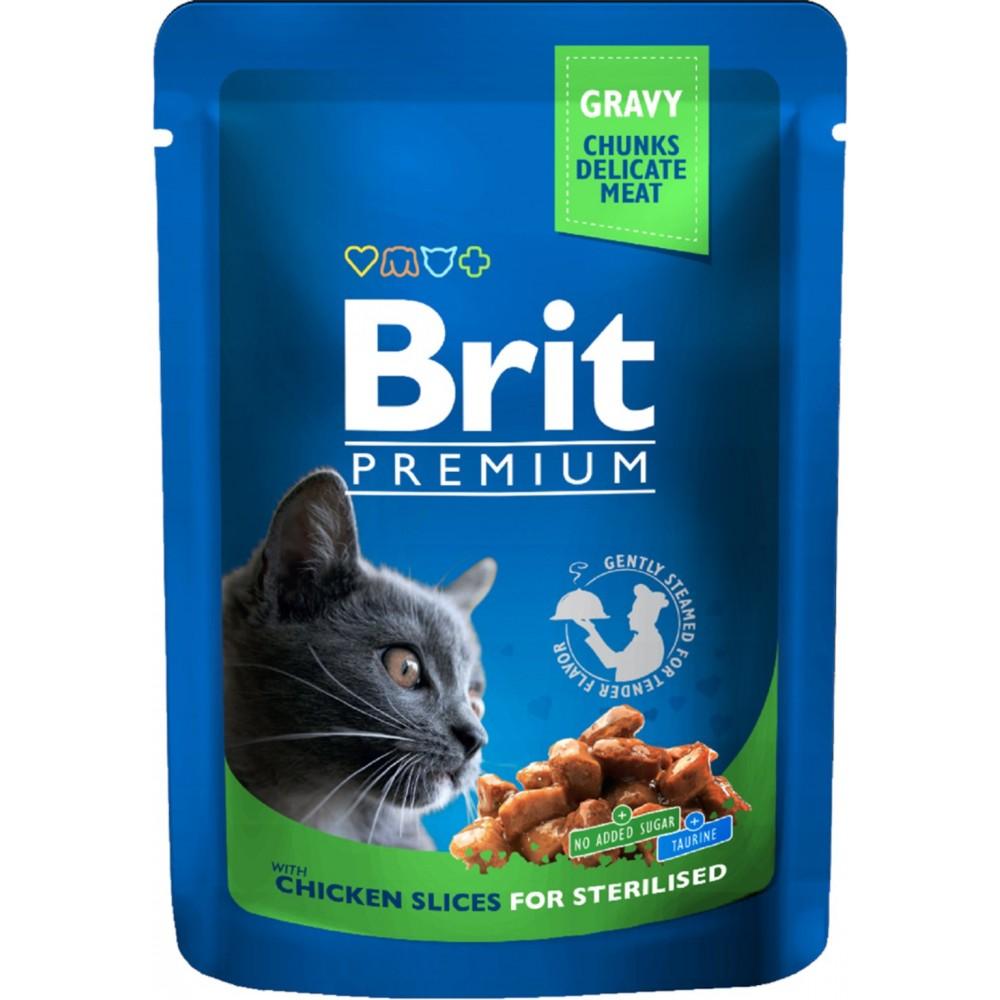 Brit Premium - консервированный корм для  стерилизованных кошек с курицей в соусе