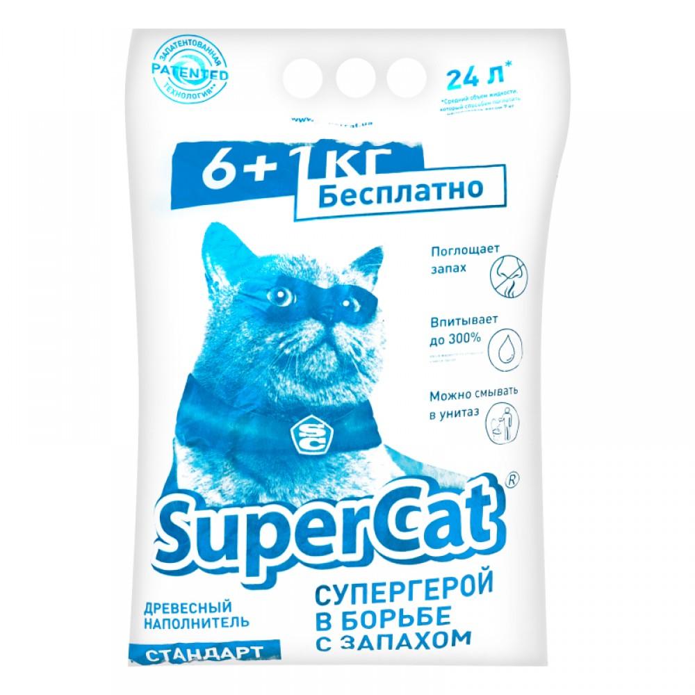 Древесный наполнитель для кошачьего туалета SuperCat стандарт (синий) 7 кг