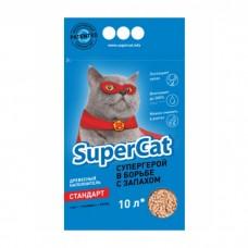 Древесный наполнитель для кошачьего туалета SuperCat стандарт (синий) 3 кг