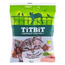 TiTBiT Хрустящие подушечки для кошек с паштетом из индейки