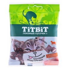 TiTBiT Хрустящие подушечки для кошек с паштетом из ягненка