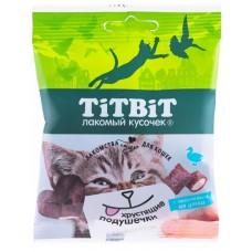 TiTBiT Хрустящие подушечки для кошек с паштетом из утки