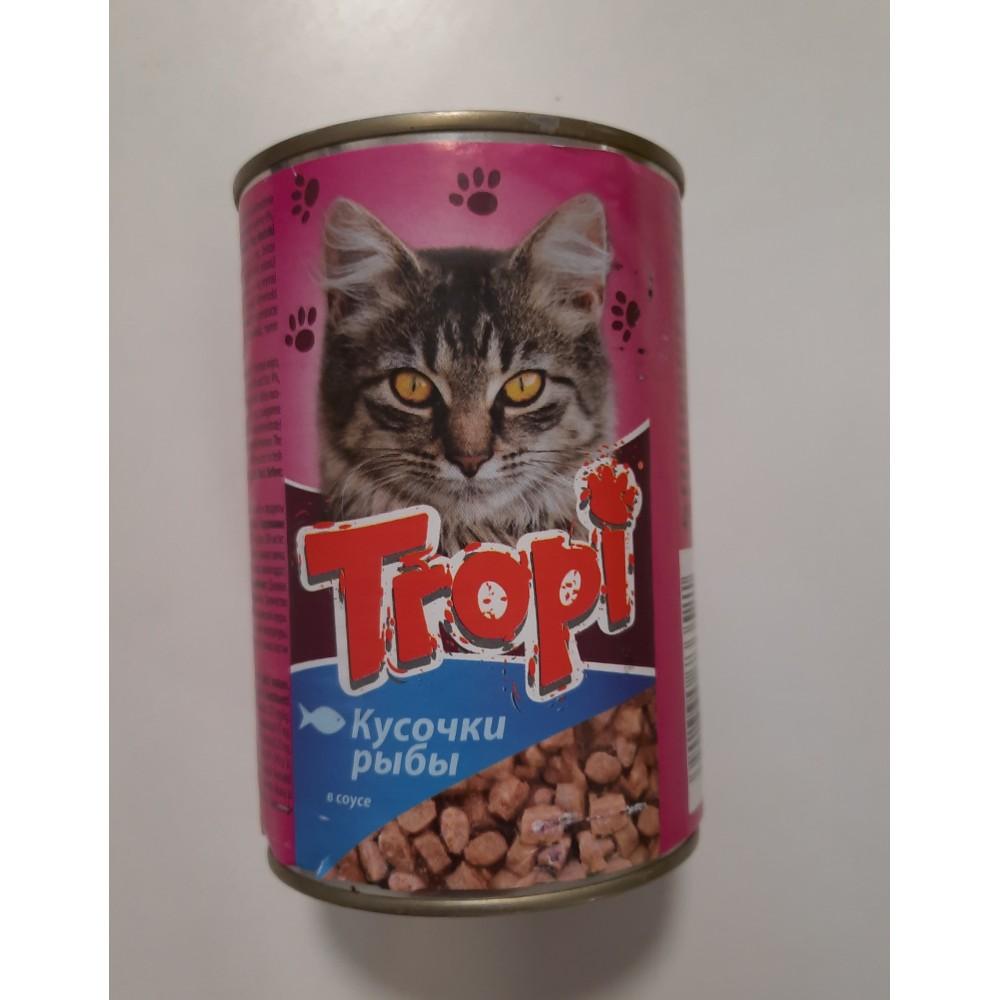 Tropi Влажный корм для котов кусочки рыбы в соусе