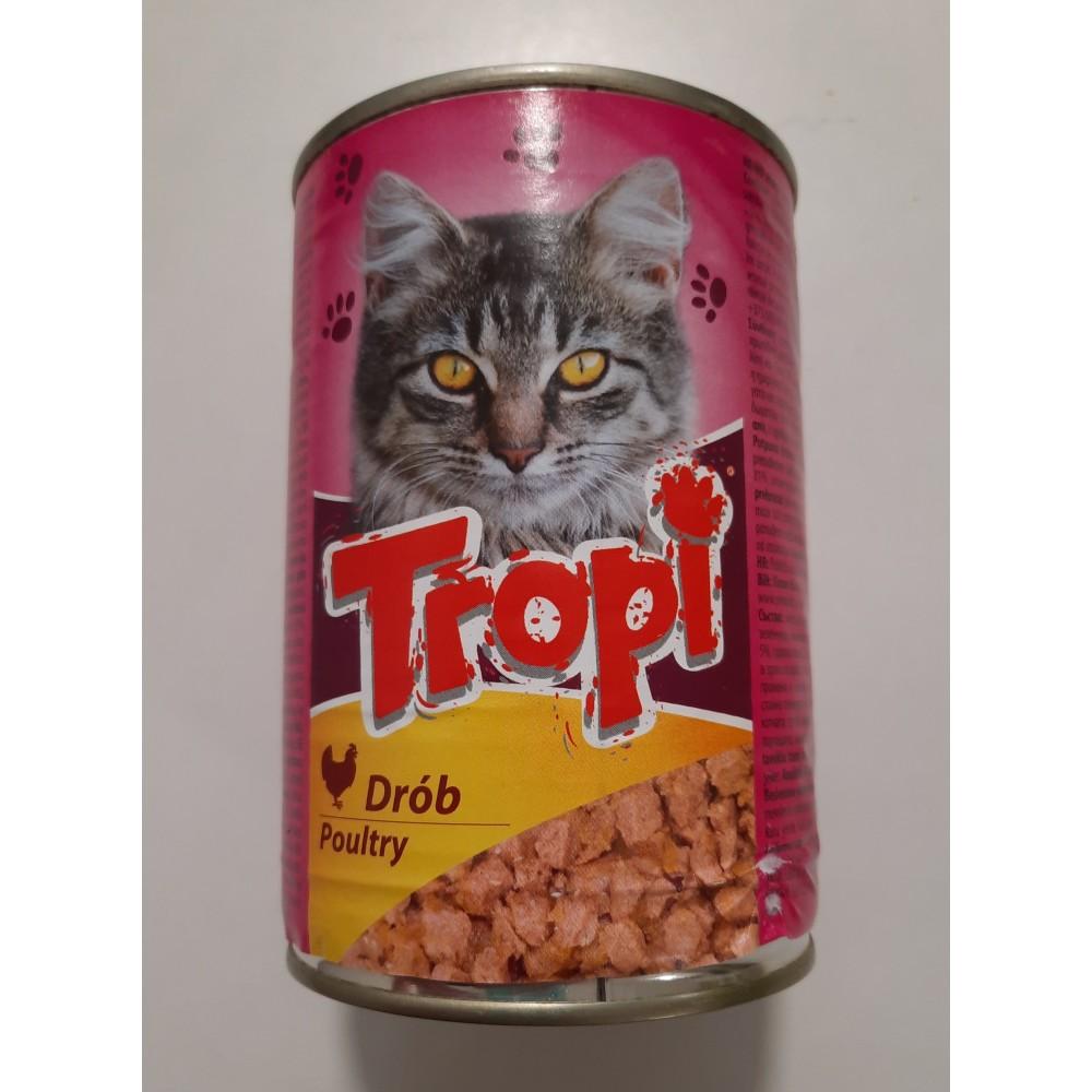 Tropi Влажный корм для котов  кусочки птицы в соусе
